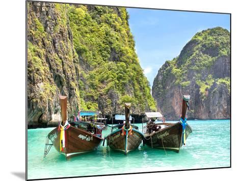 Longtail Boats in Maya Bay, Ko Phi Phi, Thailand-R.M. Nunes-Mounted Photographic Print
