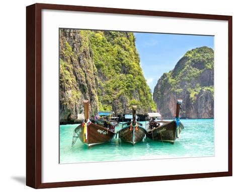 Longtail Boats in Maya Bay, Ko Phi Phi, Thailand-R.M. Nunes-Framed Art Print