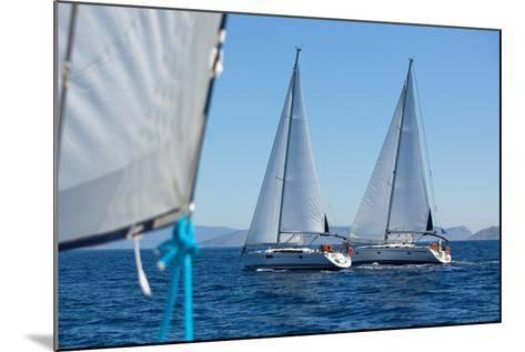 Sailing Ship Yachts with White Sails in a Row.-De Visu-Mounted Photographic Print