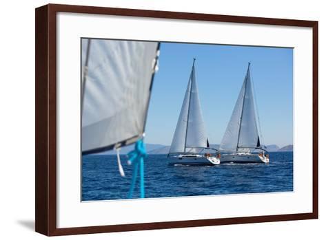 Sailing Ship Yachts with White Sails in a Row.-De Visu-Framed Art Print