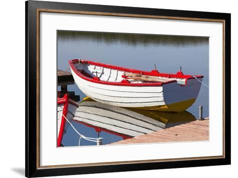 Floating Wooden Boat with Reflection-topdeq-Framed Art Print