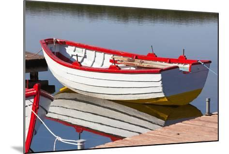 Floating Wooden Boat with Reflection-topdeq-Mounted Photographic Print