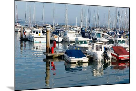 Motor Boats in a Marina with Masts and Calm Blue Sea-acceleratorhams-Mounted Photographic Print