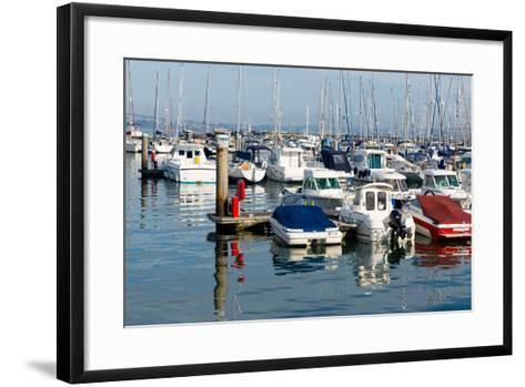 Motor Boats in a Marina with Masts and Calm Blue Sea-acceleratorhams-Framed Art Print