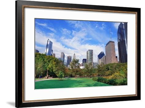Chicago City Downtown Urban Skyline with Skyscrapers and Cloudy Blue Sky over Park.-Songquan Deng-Framed Art Print