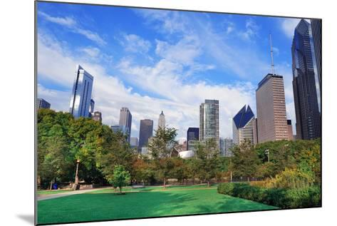 Chicago City Downtown Urban Skyline with Skyscrapers and Cloudy Blue Sky over Park.-Songquan Deng-Mounted Photographic Print