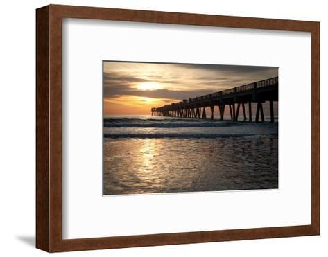 Jacksonville Beach, Florida Fishing Pier in Early Morning.-RobWilson-Framed Art Print