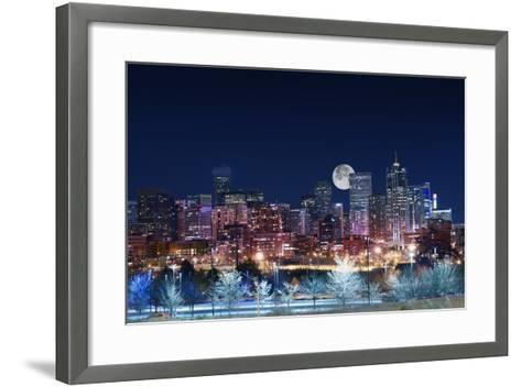 Denver Skyline West-duallogic-Framed Art Print