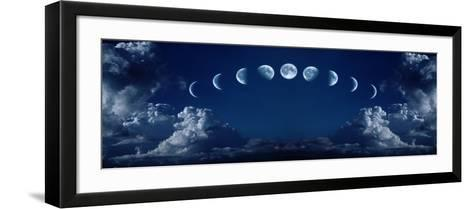 Nine Phases of the Full Growth Cycle of the Moon-korionov-Framed Art Print