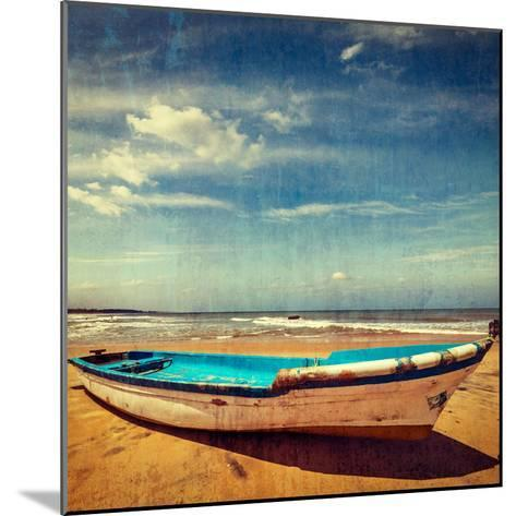 Vintage Retro Hipster Style Travel Image of Boat on a Beach, India  with Grunge Texture Overlaid-f9photos-Mounted Photographic Print