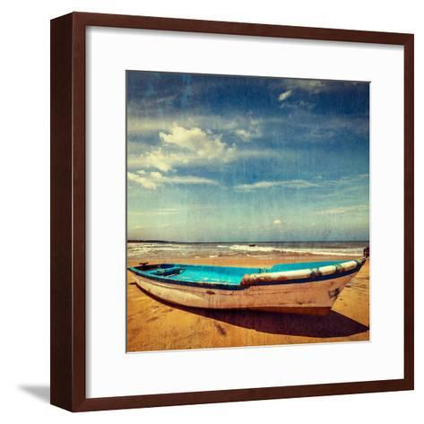 Vintage Retro Hipster Style Travel Image of Boat on a Beach, India  with Grunge Texture Overlaid-f9photos-Framed Art Print