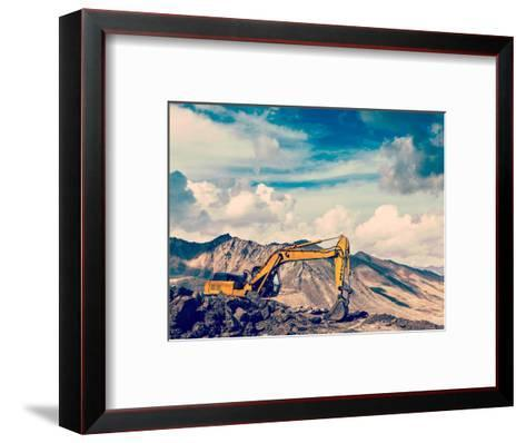 Vintage Retro Effect Filtered Hipster Style Travel Image of Road Construction in Mountains Himalaya-f9photos-Framed Art Print