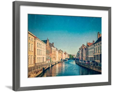 Vintage Retro Hipster Style Travel Image of Canal and Medieval Houses. Bruges (Brugge), Belgium Wit-f9photos-Framed Art Print