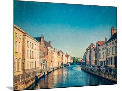 Vintage Retro Hipster Style Travel Image of Canal and Medieval Houses. Bruges (Brugge), Belgium Wit-f9photos-Mounted Photographic Print