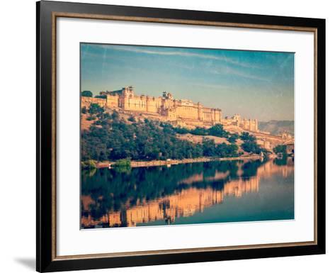 Vintage Retro Hipster Style Travel Image of Famous Rajasthan Landmark - Amer (Amber) Fort, Rajastha-f9photos-Framed Art Print