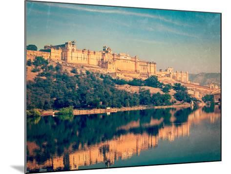 Vintage Retro Hipster Style Travel Image of Famous Rajasthan Landmark - Amer (Amber) Fort, Rajastha-f9photos-Mounted Photographic Print