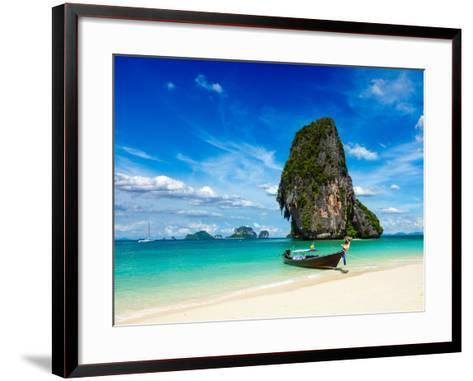 Long Tail Boat on Tropical Beach with Limestone Rock, Krabi, Thailand-f9photos-Framed Art Print