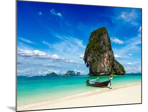Long Tail Boat on Tropical Beach with Limestone Rock, Krabi, Thailand-f9photos-Mounted Photographic Print