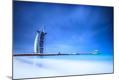 Burj Al Arab Hotel on Jumeirah Beach in Dubai, Modern Architecture, Luxury Beach Resort, Summer Vac-Anna Omelchenko-Mounted Photographic Print