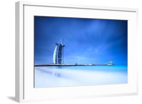 Burj Al Arab Hotel on Jumeirah Beach in Dubai, Modern Architecture, Luxury Beach Resort, Summer Vac-Anna Omelchenko-Framed Art Print