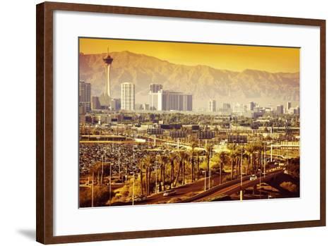 Las Vegas Nevada Cityscape-duallogic-Framed Art Print