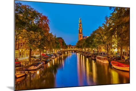 Western Church on Prinsengracht Canal in Amsterdam-sborisov-Mounted Photographic Print