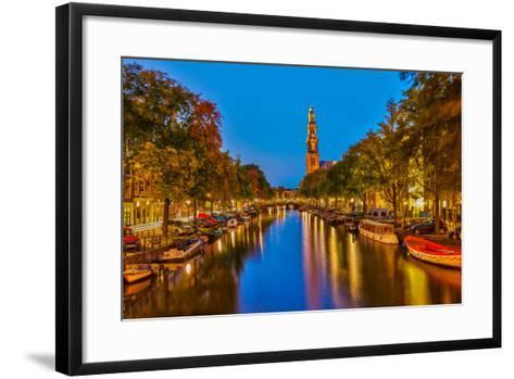 Western Church on Prinsengracht Canal in Amsterdam-sborisov-Framed Art Print