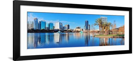 Orlando Lake Eola in the Morning with Urban Skyscrapers and Clear Blue Sky.-Songquan Deng-Framed Art Print