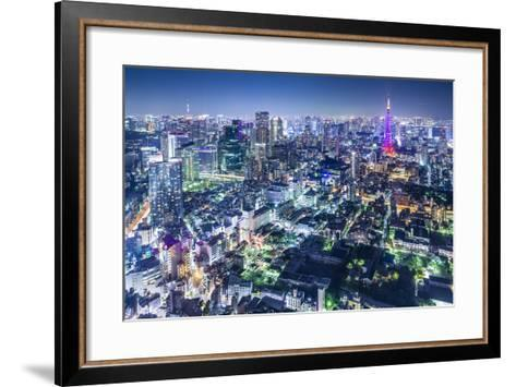 Tokyo, Japan City Skyline with Tokyo Tower and Tokyo Skytree in the Distance.-SeanPavonePhoto-Framed Art Print