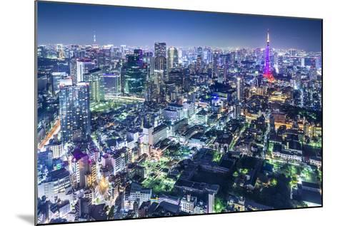 Tokyo, Japan City Skyline with Tokyo Tower and Tokyo Skytree in the Distance.-SeanPavonePhoto-Mounted Photographic Print