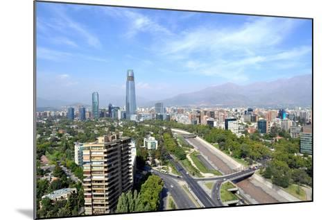 Skyline of Downtown Santiago, the Capital of Chile, Featuring 300-Meter High Gran Torre Santiago, T-1photo-Mounted Photographic Print