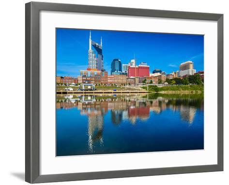 Nashville, Tennessee Downtown Skyline at Cumberland River.-SeanPavonePhoto-Framed Art Print