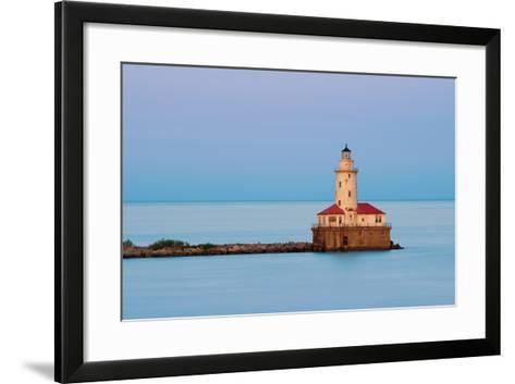 Chicago Harbor Light.-rudi1976-Framed Art Print
