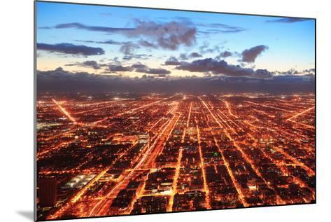 Chicago Downtown Aerial Panorama View at Dusk with Skyscrapers and City Skyline.-Songquan Deng-Mounted Photographic Print
