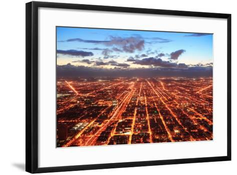 Chicago Downtown Aerial Panorama View at Dusk with Skyscrapers and City Skyline.-Songquan Deng-Framed Art Print