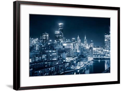 The Beautiful City of Melbourne at Night-kwest19-Framed Art Print