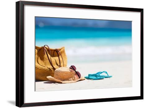 Straw Hat, Bag, Sun Glasses and Flip Flops on a Tropical Beach-BlueOrange Studio-Framed Art Print