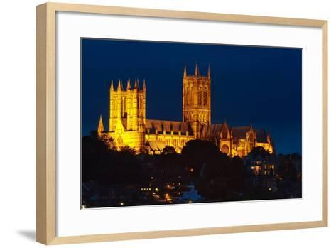 Lincoln Cathedral at Night-Stocksolutions-Framed Art Print