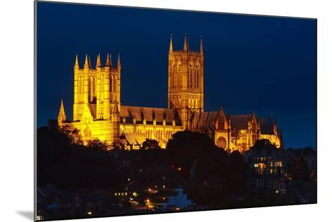 Lincoln Cathedral at Night-Stocksolutions-Mounted Photographic Print