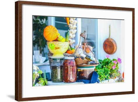 Traditional Greek Food on the Shop Bench in Santorini-TravnikovStudio-Framed Art Print