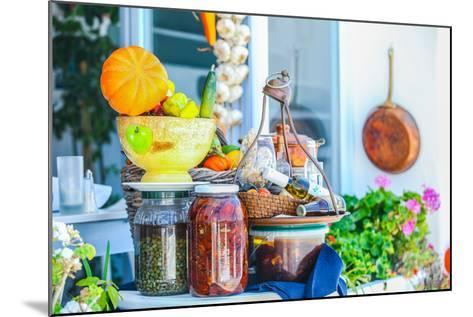 Traditional Greek Food on the Shop Bench in Santorini-TravnikovStudio-Mounted Photographic Print