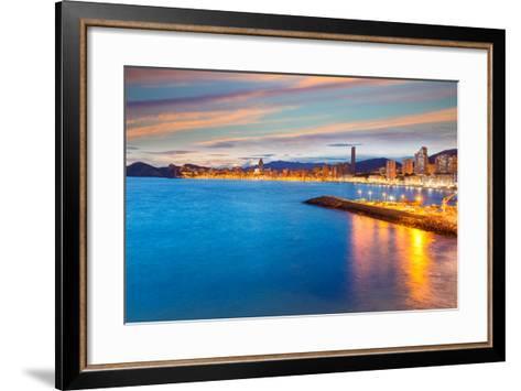 Benidorm Alicante Sunset Playa De Poniente Beach in Spain Valencian Community-holbox-Framed Art Print