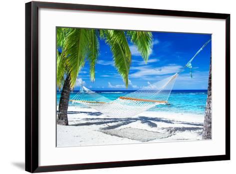 Empty Hammock between Palm Trees on Tropical Beach-Martin Valigursky-Framed Art Print