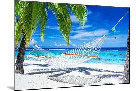 Empty Hammock between Palm Trees on Tropical Beach-Martin Valigursky-Mounted Photographic Print