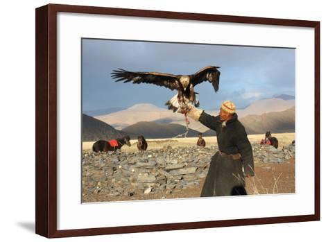 Mongolia - 25 July: the Senior Mongolian Horseman in Traditional Clothing with Golden Eagles During-TTstudio-Framed Art Print