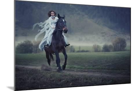 Sensual Young Beauty Riding a Horse-conrado-Mounted Photographic Print