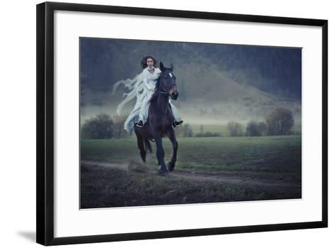 Sensual Young Beauty Riding a Horse-conrado-Framed Art Print