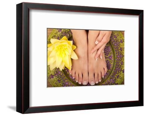 Pedicure and Manicure Spa with Beautiful Flowers-BVDC-Framed Art Print