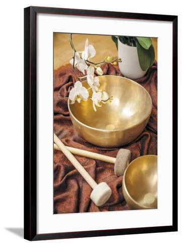 An Image of Some Singing Bowls and a White Orchid-magann-Framed Art Print