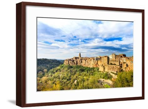 Tuscany, Pitigliano Medieval Village Panorama. Italy-stevanzz-Framed Art Print